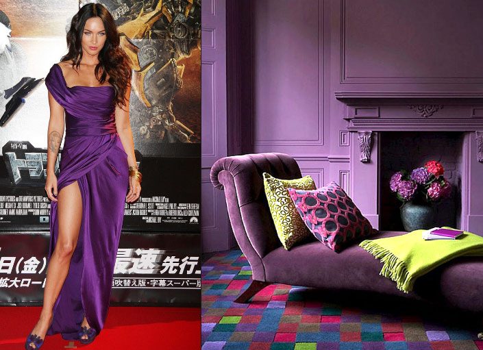 Purple color clothes and interior