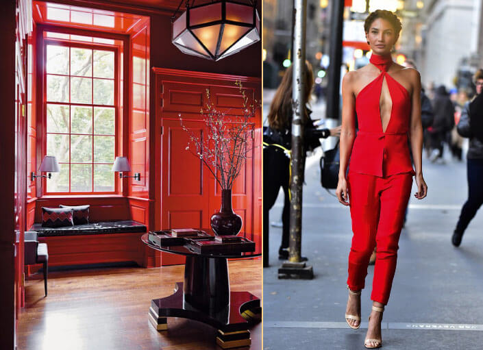 red color clothes and interior