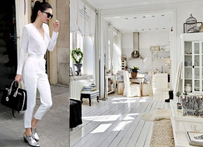 Белый цвет интерьер и одежда