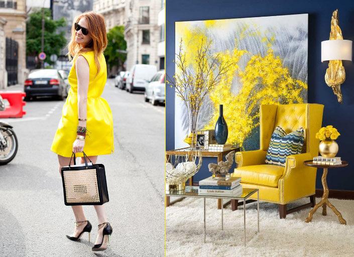 Желтый цвет интерьер и одежда