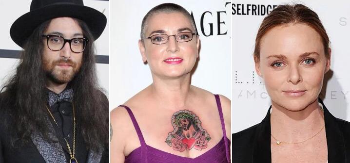 Шон Леннон (Sean Lennon), Шинейд Оконнор (Sinead O'Connor),Стелла Нина Маккартни (Stella McCartney),  известные вегетарианцы актеры и певцы