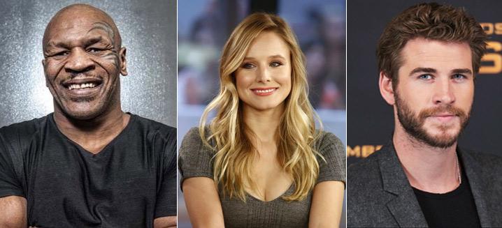 Майк Тайсон (Mike Tyson), Кристен Энн Белл (Kristen Bell), Лиам Хемсворт (Liam Hemsworth),  известные вегетарианцы актеры и певцы