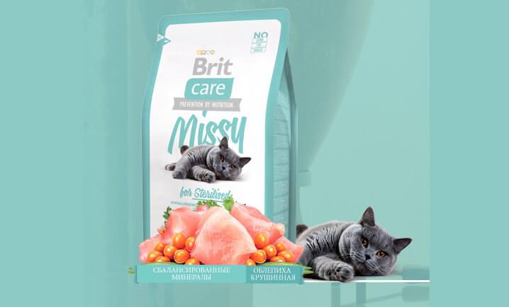 Корм Brit Care Missy for Sterilised (2.0 кг). Лучшие сухие корма для кошек.