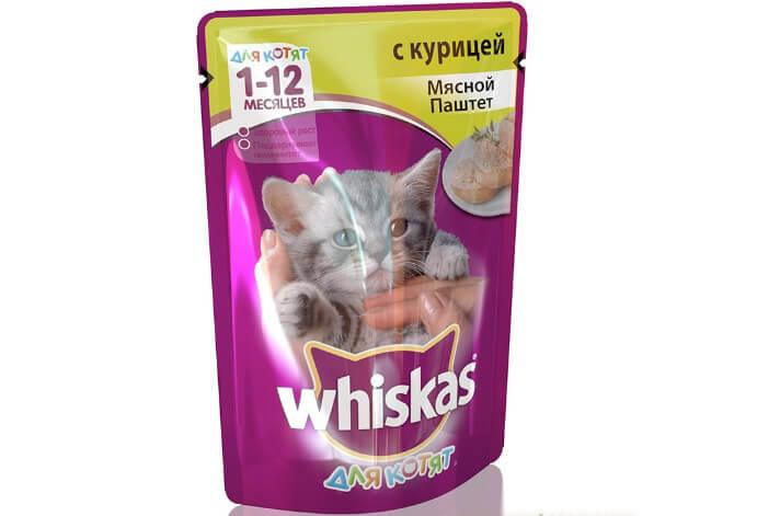 Whiskas Мясной паштет с курицей для котят. Лучший влажный корм для кошек 2018