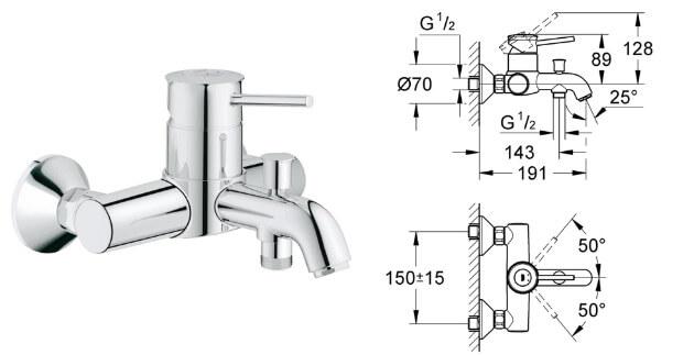 Grohe BauClassic 32865000, Лучшие смесители для ванной комнаты.