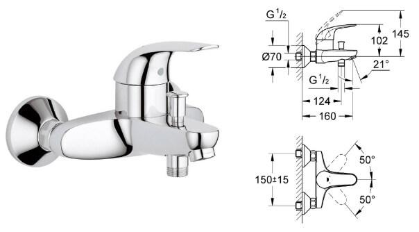 Grohe Euroeco 32743000, Лучшие смесители для ванной комнаты.
