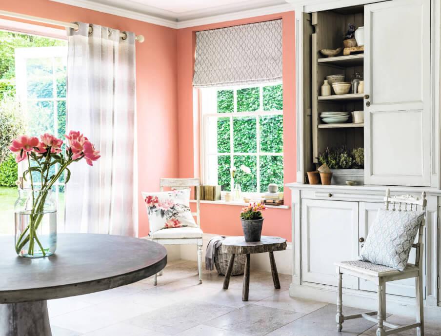 Персиковый интерьер, персиковый и серый