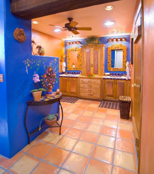 Персиковый интерьер, персиковый и синий