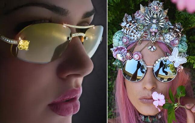 Очки с массивным ювелирным декором, Cолнцезащитные очки модные в 2019