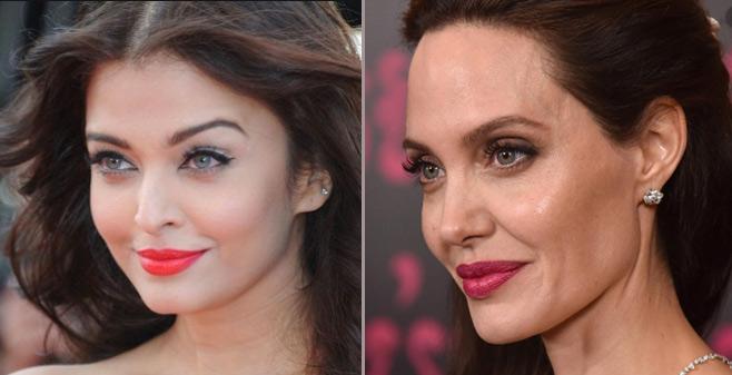 Айшвария Рай и Анджелина Джоли, серо-зелёные глаза, знаменитости, актёры